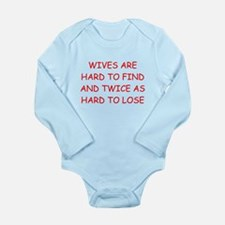 men's divorce joke Long Sleeve Infant Bodysuit