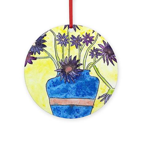 Abby H's Flower Vase Ornament (Round)