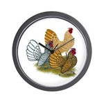 Sebright Rooster Assortment Wall Clock