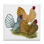 Sebright Rooster Assortment Tile Coaster