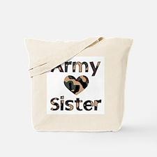 Army Sister Heart Camo Tote Bag