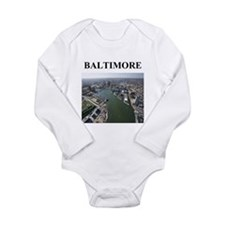 Cute Baltimore city Long Sleeve Infant Bodysuit
