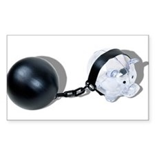 Piggy Bank Ball and Chain Decal