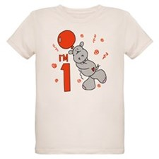Hippo Balloon First Birthday T-Shirt