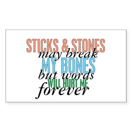 Sticks and Stones Sticker (Rectangle)