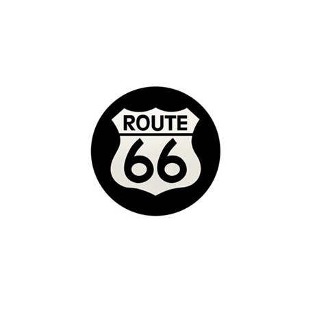 Route 66 Highway Sign Biker Mini Button