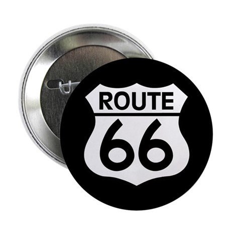 "Route 66 Highway Sign Biker 2.25"" Button (10"