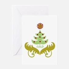 Curly Christmas Tree Greeting Card