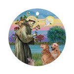 St Francis - Two Golden Retr. Ornament (Round)