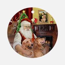 Santa's Two Golden Retrievers Ornament (Round)
