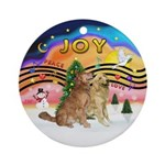 Xmas Music 2 - Two Goldens Ornament (Round)