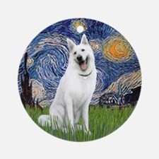 Starry Night - White German Shep. Ornament (Round)