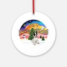 Xmas Music 2-French Bulldog (BW) Ornament (Round)