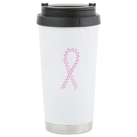 Pink Paw Ribbon Stainless Steel Travel Mug