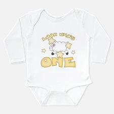 Lamb Stars First Birthday Long Sleeve Infant Bodys