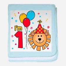 Cool Lion Face First Birthday Infant Blanket