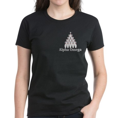 Apha Omega Logo 9 Women's Dark T-Shirt Design Fron