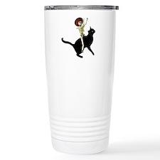 Skeleton on Cat Thermos Mug
