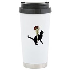 Skeleton on Cat Travel Mug