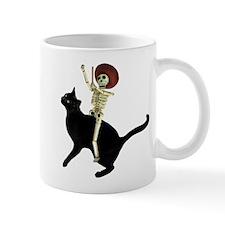 Skeleton on Cat Small Mug