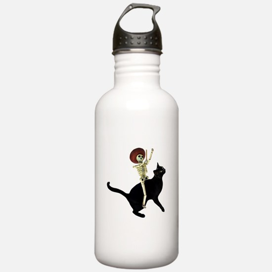 Skeleton on Cat Water Bottle