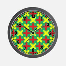 Yellow & Red Crosses Pattern Wall Clock