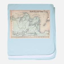 Vintage Map of East Hampton New York baby blanket