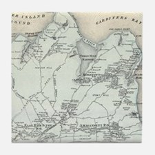 Vintage Map of East Hampton New York Tile Coaster