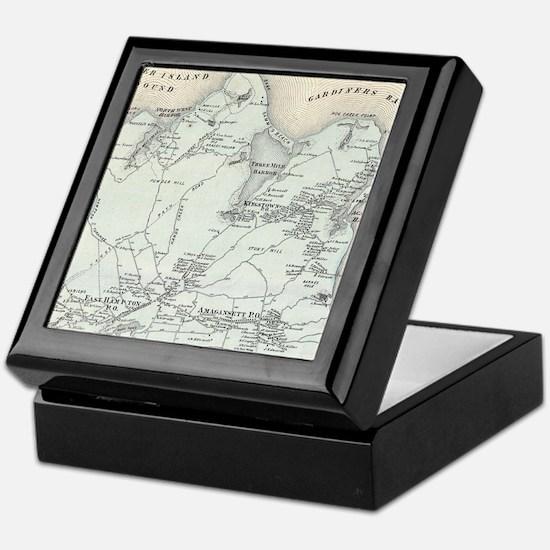 Vintage Map of East Hampton New York Keepsake Box