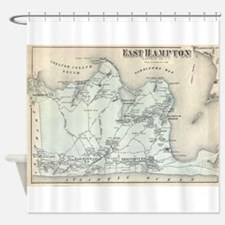 Vintage Map of East Hampton New Yor Shower Curtain