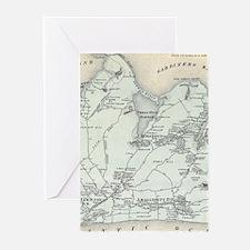 Vintage Map of East Hampton New Yor Greeting Cards
