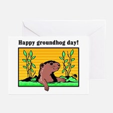 Happy groundhog day!  Greeting Cards (Pk of 10