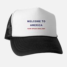 Speak English Trucker Hat (blue/red)