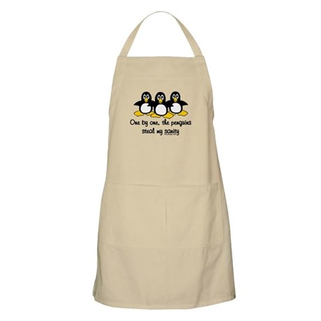 One by one, the penguins.. BBQ Apron