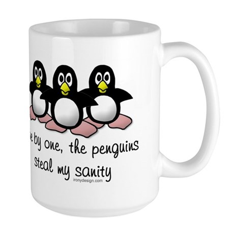 One by one, the penguins.. Large Coffee Mug