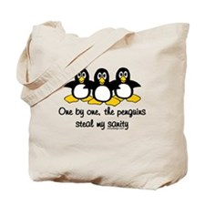 One by one, the penguins.. Tote Bag