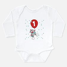 Sock Monkey 1st Birthday Long Sleeve Infant Bodysu