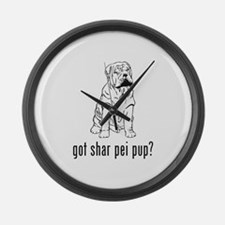Shar Pei Puppy Large Wall Clock