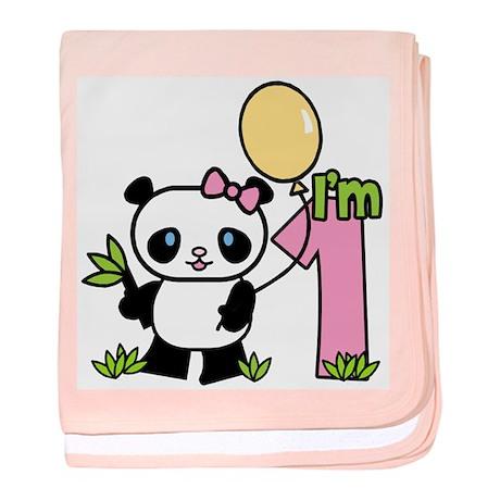 Lil' Panda Girl First Birthda Infant Blanket