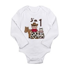 Cowboy First Birthday Long Sleeve Infant Bodysuit