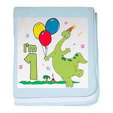 Dino First Birthday Infant Blanket