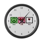 Peace Love Wine Large Wall Clock