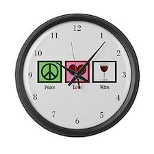 Peace Love Wine Large Wall Clock