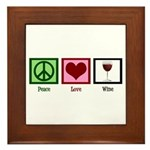 Peace Love Wine Framed Tile