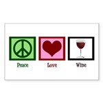 Peace Love Wine Sticker (Rectangle)