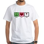 Peace Love Wine White T-Shirt