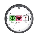 Peace Love Wine Wall Clock