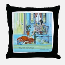 """Dog on the Porch"" Throw Pillow"