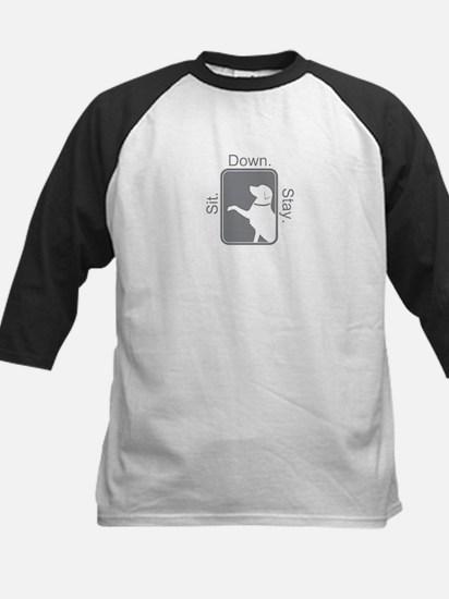 Shop Sit. Down. Stay. Kids Baseball Jersey