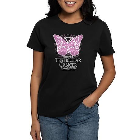 Testicular Cancer Butterfly Women's Dark T-Shirt